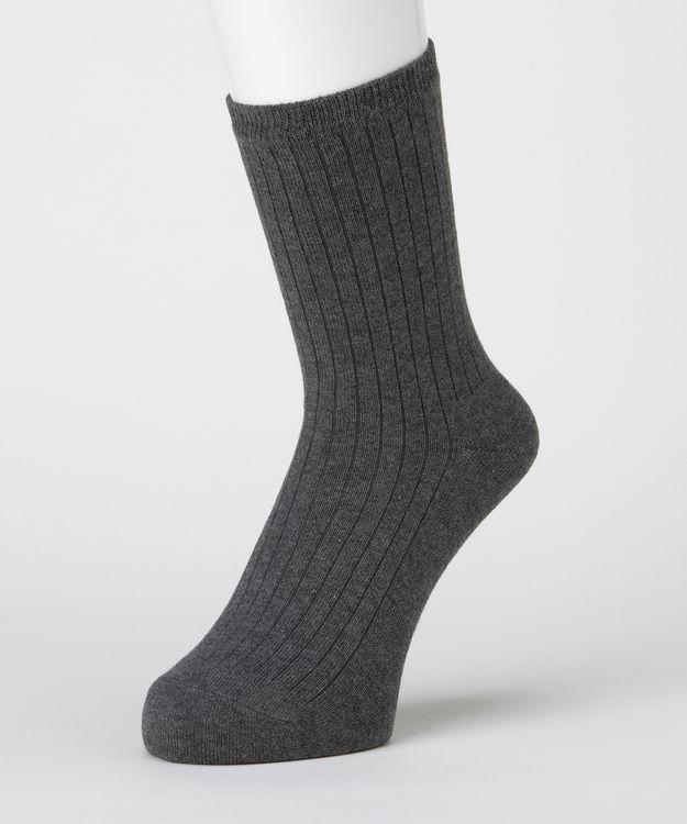 はくらく メンズ 18cm丈 5×1リブ 二層編み